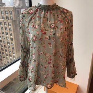 Zara Green Ling Sleeve Sheer Blouse floral Detail